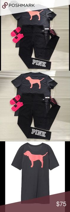 Pink VS Tee & Legging,Socks,Coin Purse (Free Hat) Pink VS bundle includes, pink tee size medium back logo front pocket logo side hem splits. Leggings are size medium high waisted front waist logo and bottom back logo. Logo socks and VS coin purse, Free Lace Hat snap back is located in my closet. Great deal also comes with a extra bonus wristlet located in my closest with a purchase of $50 dollars or more. PINK Victoria's Secret Other