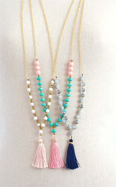 Trendy Long Beaded Tassel Necklaces - 3 Styles | Jane
