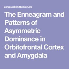 The Enneagram and Patterns of Asymmetric Dominance in Orbitofrontal Cortex and Amygdala