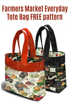 Farmers Market Everyday Tote Bag free pattern - Sew Modern Bags FREE sewing pattern for a market tote bag. This grocery bag sewing pattern creates a strong reusabl Bag Patterns To Sew, Tote Pattern, Sewing Patterns Free, Free Sewing, Easy Tote Bag Pattern Free, Quilted Purse Patterns, Handbag Patterns, Wallet Pattern, Quilted Tote Bags