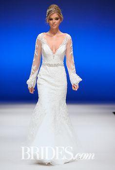 Brides.com: . Style 2701, long sleeve Venice lace sheath wedding dress with a plunging V-neckline and diamante beaded trim, Mori Lee