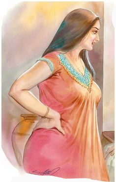 Indian Women Painting, Indian Art Paintings, Sexy Painting, Woman Painting, Cartoon Girl Drawing, Girl Cartoon, Baby Animal Drawings, Painting Gallery, Painting Prints