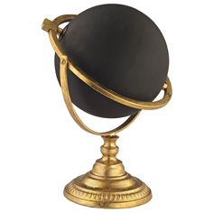 """A unique accent for the modern desktop, the Chalk Globe provides personalized panache. This chic accessory gleams in gold with a black sphere at the center. Metal, chalkboard; Gold; Wipe with damp cloth to clean; 13""""W x 18""""H"""