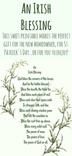 "An Irish Blessing: ""God bless the corners of this house, And be the lintels bles … – TOP 15 St Patrick's Day Quotes Irish Prayer, Irish Blessing, St Patricks Day Quotes, Irish Quotes, Irish Sayings, Irish Poems, Irish Proverbs, House Blessing, Irish Eyes Are Smiling"