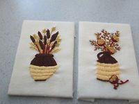 2 RETRO  MID CENTURY CREWEL EMBROIDERY FLORAL JUG CROCK CAT TAILS SUN FLOWERS