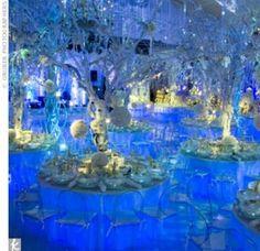 Snowflake Balloon Centerpiece   Event Planner Harriette Rose Katz created white floral centerpieces ...