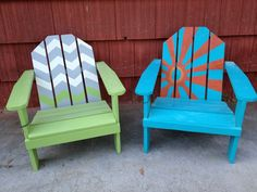 S adirondack handmade handpainted chair by pjsfurniture, Preschool Auction Projects, Class Art Projects, Wall Paint Treatments, Kids Adirondack Chair, Hand Painted Chairs, Senior Picture Props, Chair Photography, Paint Furniture, Outdoor Chairs