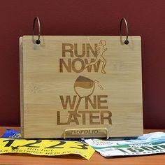 Engraved Bamboo Wood BibFOLIO Run Now Wine Later   Running BibFOLIOs   Running Gifts