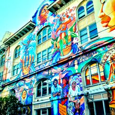 San Fran - street art : This is the Women's Building ...  seen this in person.  The other side of the building is wonderful, too.