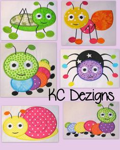 Cute Crawling Bugs 16 Machine Applique Embroidery by KCDezigns, $15.00