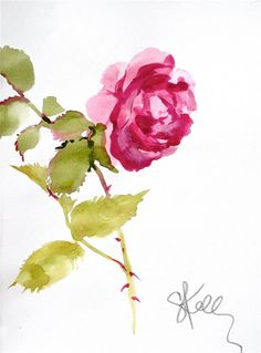 another LOOK: Pink Rose stem - watercolor flower by Gretchen Kelly