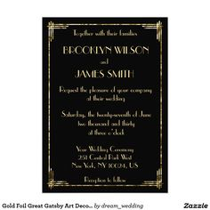 Gold Foil Great Gatsby Art Deco Wedding Invites