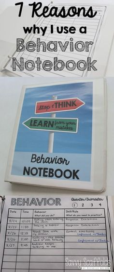 7 Reasons why I use a Behavior Notebook for classroom management and documentation. Detailed explanation and FREE Printable. Read more about why this is a great practice to add to your daily routine. Go to: http://savvyscaffolds.blogspot.com/2015/08/7-reasons-why-i-use-behavior-notebook.html