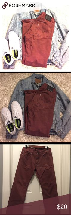 Men's Levi's 514 (Only jeans is for sale) Excellent Condition. No holes No stains! Wine color. 2nd photo show true to color. Levi's Jeans Straight