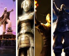 The Legend of Korra/ Avatar the Last Airbender: statues of Aang, Toph, Zuko, and Sokka in Republic City.