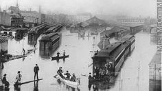 Si nous étions encore au 19e siècle, le gonflement des rivières des derniers jours aurait sans doute submergé le centre-ville de Montréal. Reconstitution de la grande inondation de 1886.
