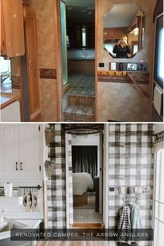 Design Vibes: Modern Farmhouse-Inspired Fifth Wheel Tour this modern farmhouse-inspired fifth wheel from The Arrow Anglers! Tour this modern farmhouse-inspired fifth wheel from The Arrow Anglers! Fifth Wheel Campers, Travel Trailer Remodel, Camper Makeover, Camper Renovation, Camper Interior, Interior Design, Remodeled Campers, Camper Trailers, Travel Trailers
