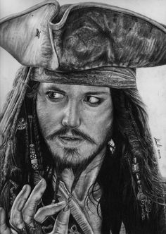"""MY Peanut!"" xD  I had so much fun in drawing the amazing-badass Captain Jack Sparrow!! This drawing that took me about 15 hours with HB to 8B pencils."