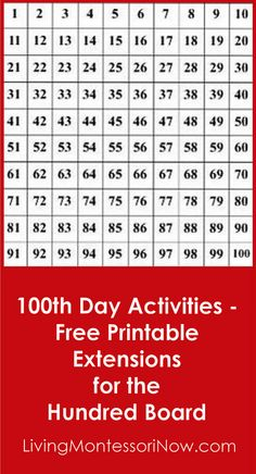 LOTS of free printable hundred charts and related printable extensions for the Montessori hundred board - perfect for 100th day of school activities