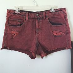 Free People Shorts Burnt orange / red distressed dyed Free People shorts. Good condition. Size 31 Free People Shorts Jean Shorts