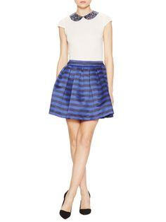 Wide Stripe Box Pleat Skirt from alice + olivia on Gilt