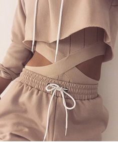 Pants: tracksuit, joggers, hoodie, nude, beige, sweatpants, all nude everything, cropped hoodie, nude sweatpants, cut-out, bodysuit, nude bodysuit - Wheretoget