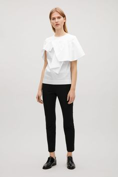COS image 1 of Top with draped sleeves in White