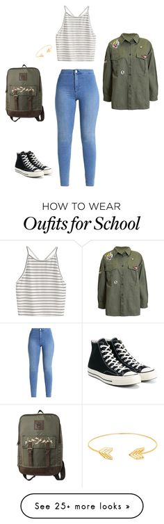 """Back to school outfit"" by thegirlwithstyle1 on Polyvore featuring T-shirt & Jeans, Sans Souci, Converse and Lord & Taylor"