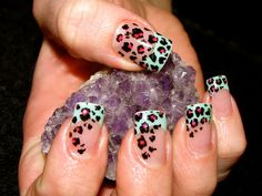 Hand Painted Leopard Print Nails with Custom Acrylic Colour by Jessica Johnson at Jessica Nicole Studio! Love Love Love!