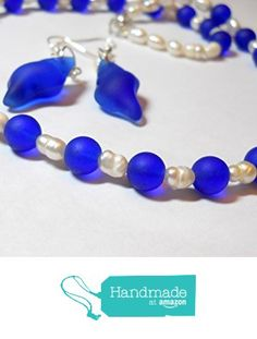 Handmade Cobalt blue sea glass and cultured pearl necklace earrings set by BethExpressions Sea Glass Necklace, Blue Necklace, Glass Earrings, Sea Glass Jewelry, Beaded Necklace, Beach Wedding Jewelry, Beach Jewelry, Cultured Pearl Necklace, Cultured Pearls
