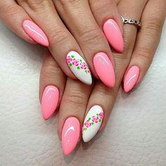 Pretty Nail Colors, Pretty Nails, Spring Nails, Summer Nails, Diy Nails, Cute Nails, Almond Nails Designs Summer, Violet Nails, Flower Nails