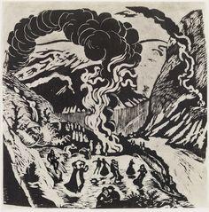Nikolai Astrup - Midsummer Eve Bonfire woodcut