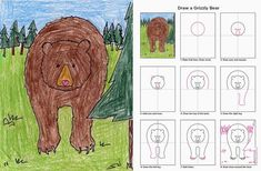 How to Draw a Grizzly Bear (Art Projects for Kids) Bear Drawing, Drawing For Kids, Art For Kids, Kid Art, Animal Art Projects, Directed Drawing, 2nd Grade Art, Kindergarten Art, Art Lessons Elementary