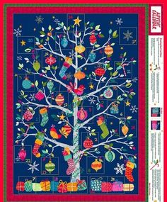 Navy+Ornament+Tree+Advent+Panel,+Makower+Christmas+by+Makower+at+Creative+Quilt+Kits