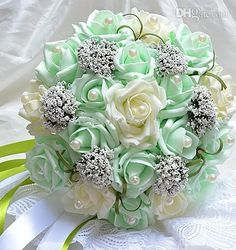 Colorful Wedding bouquet sevencolor PE rose artifical bridal bouquet green with white