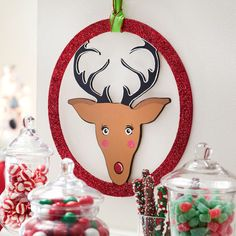 Add a touch of whimsy to your holiday decor when you paint this cute and crafty Glittered Reindeer Wood Wreath