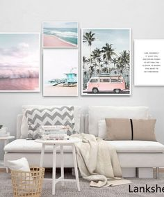 Ocean Landscape Canvas Poster Nordic Style Beach Pink Bus Wall Art Print Painting Decoration Picture Scandinavian Home Decor Nordic Art, Nordic Style, Murs Pastel, Living Room Bedroom, Bedroom Decor, Pastel Living Room, Modern Bedroom, Kids Bedroom, Decor Scandinavian
