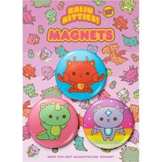 """Designed for the ridiculously cute Kaiju Kitties! series, this magnet pack includes three colorful and sweet magnets, each with an illustration of a monster-kitty! They're approximately 2.25"""" and while they're too adorable to scare anyone away from whatever you hold up with them, they'll definitely add some irresistibly quirky fun to any whiteboard or refrigerator!  #stationary"""