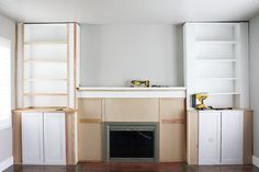 ikea hack built-ins fireplace bookcase billy bookcase crane concept diy b Ikea Fireplace, Fireplace Bookshelves, Fireplace Built Ins, Home Fireplace, Bookshelves Built In, Faux Fireplace, Fireplace Makeovers, Fireplaces, Ikea Built In