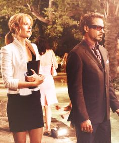 """Pepper and Tony (""""Iron Man"""" production still from the deleted Dubai party sequence)."""