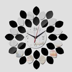 Nova promoção chegada 2015 cor quente de quartzo grande parede de acrílico espelho design moderno de luxo cristal 3d relógios frete grátis alishoppbrasil