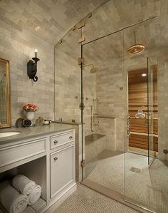 Incredible shower and sauna design!