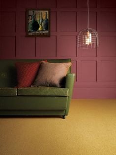 Showstopper! Castlemead Twist CD128 Yellow Submarine complemented by Ashes of Roses 6 by The Little Greene Paint Company