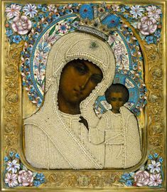 Framed icon of Icon of Our Lady of Kazan Painting - Russia, the late XIXth - early ХХth century; the cover - Moscow, 1899-1908. I. Tarabrov workshop. Gold, silver, rose-cut diamonds, emeralds, pearls, glass, wood, cloth; chasing, gilding, tempera