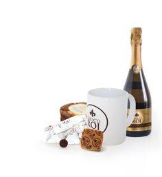 Chocoroi et ses amis : le chocolat  carré Chocoroi, la croustille Pranlinéa, des vins d'Anjou (of course !) et un mug bien pratique !