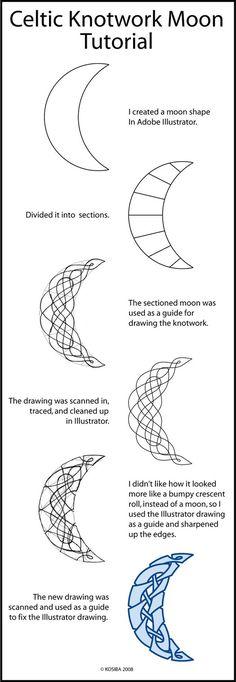 ☽ Knotwork Moon Tutorial by ~bigblued on deviantART