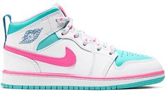 Buy and sell authentic Jordan 1 Mid White Pink Green Soar (PS) shoes and thousands of other Jordan sneakers with price data and release dates. Pink Jordans, Pink And White Jordans, Teal And Pink, Jordan 1 White, Jordan 1 Mid, Jordan Shoes Girls, Girls Shoes, Slippers, Tennis