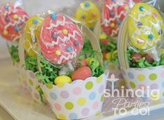 Cupcake Wrap Easter Basket Favors ~  a simple little tutorial of Easter basket favors made from the cupcake wraps and party flags.