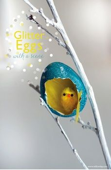 save your cracked eggs with these glitter egg dioramas!