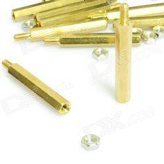 Brass Threaded Stand-Off Hex Screw Pillars w/ Nuts (M3 x 30mm + 6 / 30-PCS)